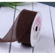 Лента холщовая из мешковины 30мм, шоколадный (1метр)