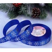Лента декоративная репсовая с тиснением «Снежинки», 25 мм (1 метр) синий/серебро