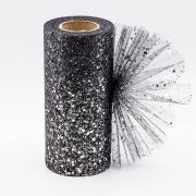 Фатин ширина 15см (2метра) черный с пайетками