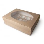 Упаковка крафт для 12 маффинов 33х25х10см
