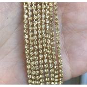Стразовая лента (цепь) SS10 бледно-жёлтый/жёлтый  (1метр)