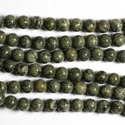 Бусины змеевик темно-зеленый 6мм (10шт.)