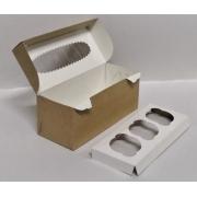 Коробка крафт для 3 капкейков с окном 25х10х10см