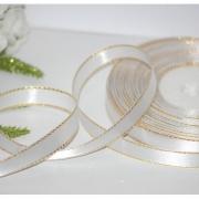 Лента атласная с металлизированной нитью 12мм белый/золото (5метров)