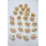"""Бутон цветов """"Роза чайная"""" 3 см кремовый/светло-розовый, 2 шт"""