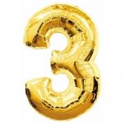 """Шар фольгированный """"Цифра 3"""" 40'' (102см) золото, без гелия"""