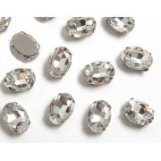 Стразы  в цапах стекло 14 мм Овал  (2 шт) серебро