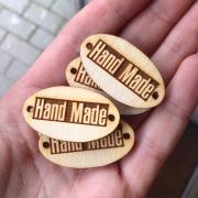 """Бирочка из фанеры  """"Handmade"""" 3.5х2 см (10шт.)"""