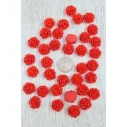 Кабошон пластиковый Розочка 18 мм, красный (5 шт)