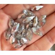 Бусины стекло капли граненые 5х12 мм (5 шт.) серо-серебряные