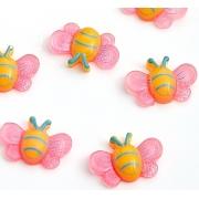 Кабошон пластиковый Бабочка 3 см, розовый (10 шт)