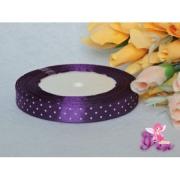 Лента атласная 15мм горошек (1метр) фиолетовый