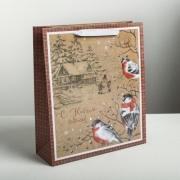 Пакет крафтовый вертикальный «С Новым годом!», M 30 × 26 × 9 см