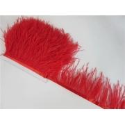 Перья страуса на ленте (48см) красные