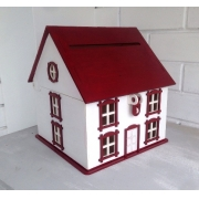 """Короб для денежных подарков """"Дом"""" 27х27х30см бело-бордовый"""