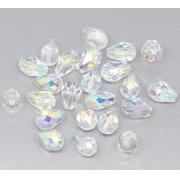Бусины стекло капли граненые 5х3 мм (5 шт.) радужные