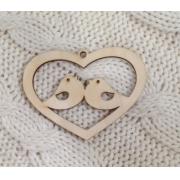 Декоративный элемент Сердце с птичками 9х9см