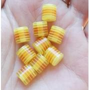 Бусины акрил полосатые желто-оранжевые (10шт.)