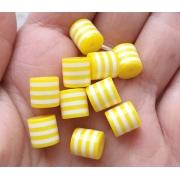 Бусины акрил полосатые бело-желтые (10шт.)