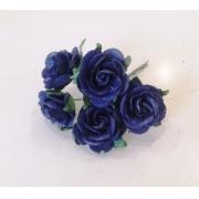Розы из бумаги 2 см (5 шт.) темно-синий