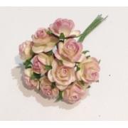 Розочки 1 см (10 шт.) бело-розовый
