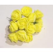 Розы из фоамирана 2 см (12 шт) желтые