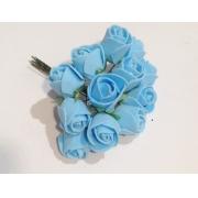 Розы из фоамирана 2 см (12 шт) голубые