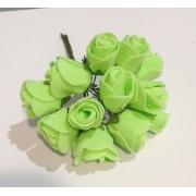 Розы из фоамирана 2 см (12 шт) салатовые