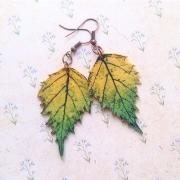 """Серьги """"Осенние листики"""" зеленые"""