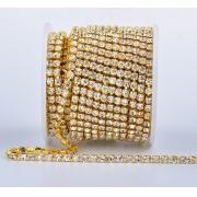 Стразовая лента (цепь) SS8 под золото (1метр)