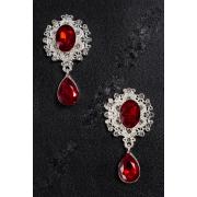 Серединка ювелирная с подвеской 3.5х5см (2 шт) серебро/темно-красный