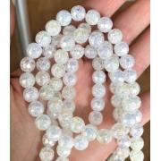 Битый (сахарный) кварц 8мм (8шт.) белый радужный с огранкой