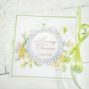 """Свадебное приглашение с печатными цветами """"Лайм"""""""