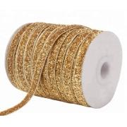 Лента бархатная металлизированная 15мм (1метр) золото