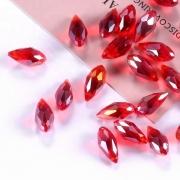 Бусины стекло капли граненые 5х12 мм (5 шт.) красные с отливом