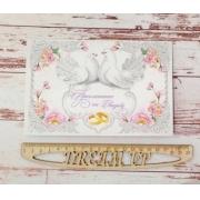 """Свадебное приглашение печатное """"Белые голуби"""" 12х18см"""