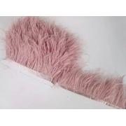 Перья страуса на ленте (48см) пудровый розовый