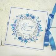 """Свадебное приглашение с печатными цветами """"Синева"""""""