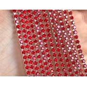 Стразовая лента (цепь) SS8 красная в серебристой оправе (1метр)