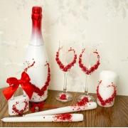 Оформление бутылок вина/шампанского в красном цвете (1шт.)
