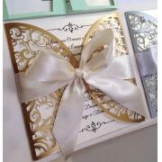 Свадебное приглашение резное золото