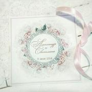 """Свадебное приглашение с печатными цветами """"Светло-розовый"""""""