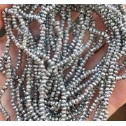 Чешское стекло на нитях 2мм (около 200шт.) серебряные