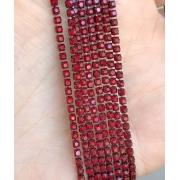 Стразовая лента (цепь) SS10 красный/красный  (1метр)