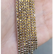 Стразовая лента (цепь) SS10 золотая/ оправа серебро  (1метр)