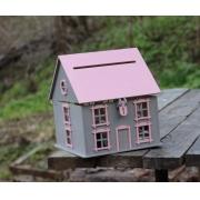 """Короб для денежных подарков """"Дом"""" 27х27х30см серо-розовый"""