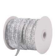 Лента бархатная металлизированная с люрексом 10мм (1метр) серебро
