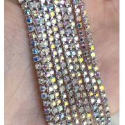 Стразовая лента (цепь) SS10 радужный розово-голубой/серебро  (1метр)