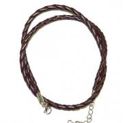 Шнур плетеный CBC-01 коричневый  3мм с замком (45 см)