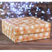 """Коробка картонная на 9 капкейков """"Снежинки"""" 25х25х10 см"""